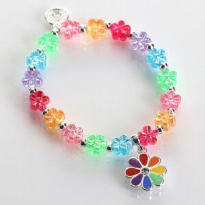 Girls Silver Plated Rainbow Flower Bracelet