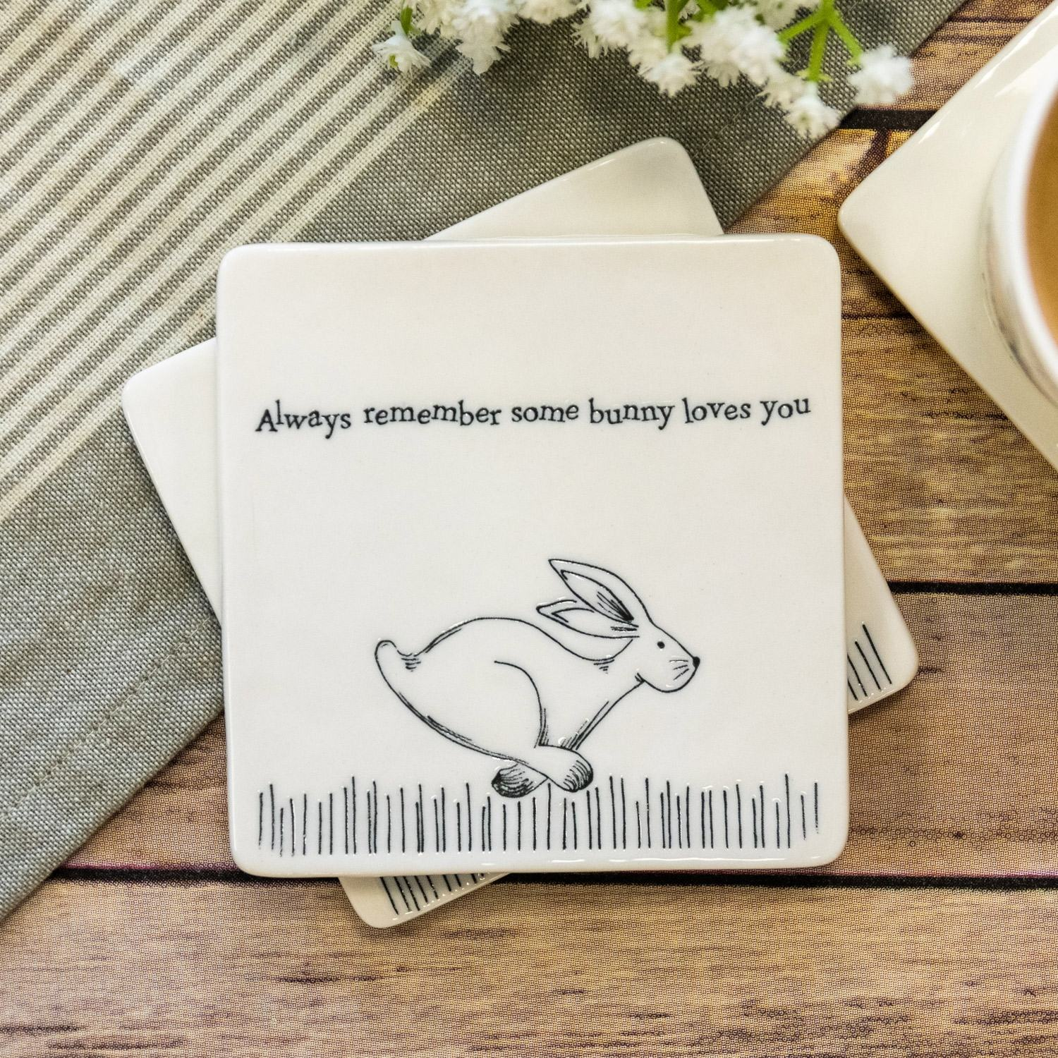 EAST OF INDIA CERAMIC COASTER 'Always Remember Some Bunny Loves You'