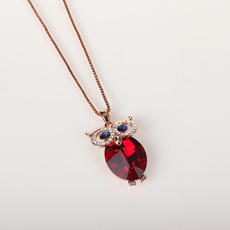 Equilibrium Red Crystal Owl Necklace