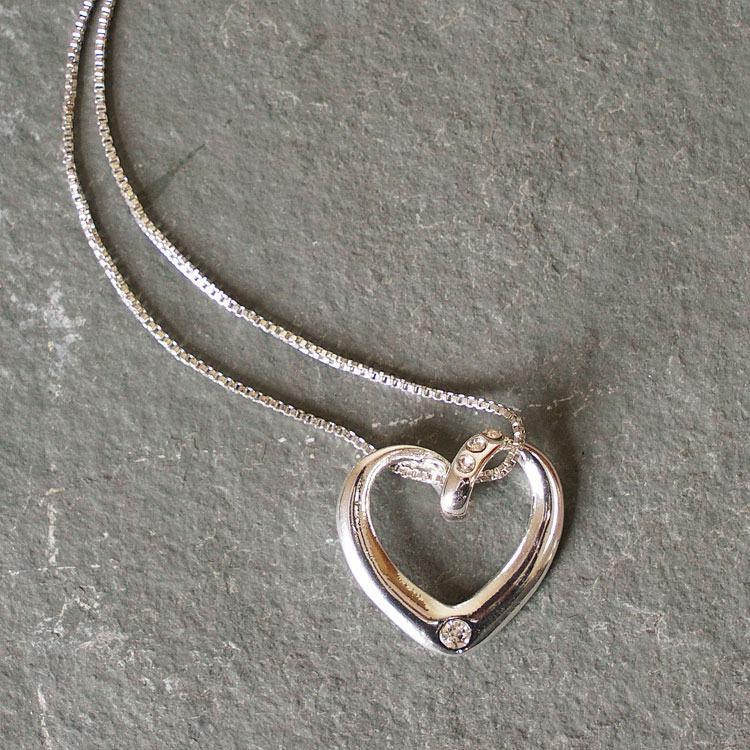 equilibrium clear diamante heart necklace