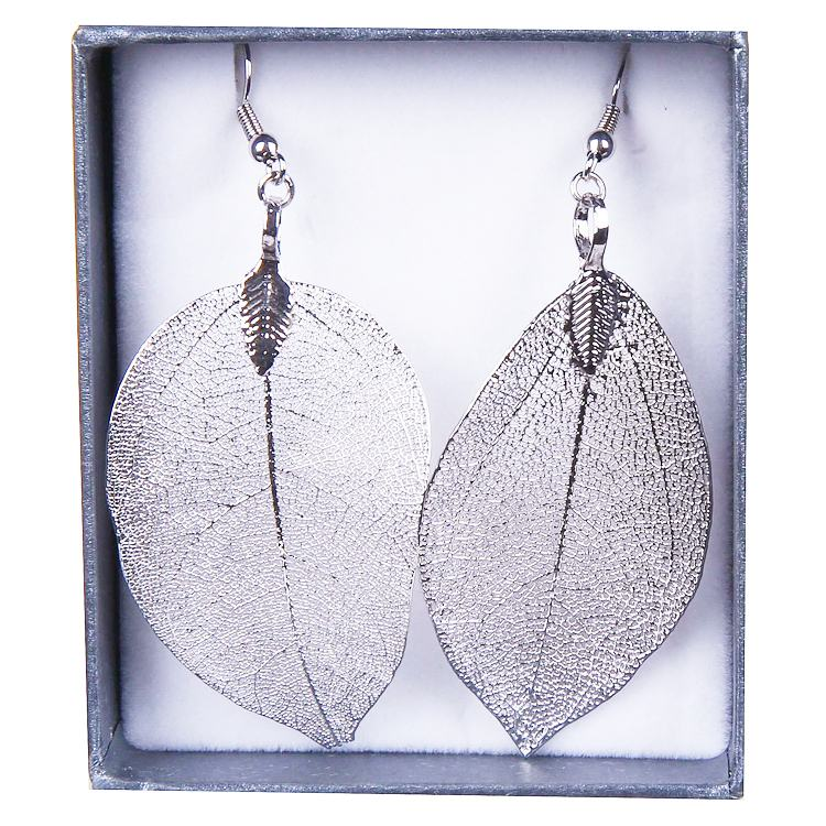 equilibrium platinum plated dangling leaf earrings