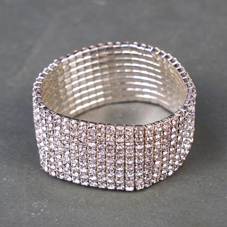 equilibrium white gold diamante row bracelet