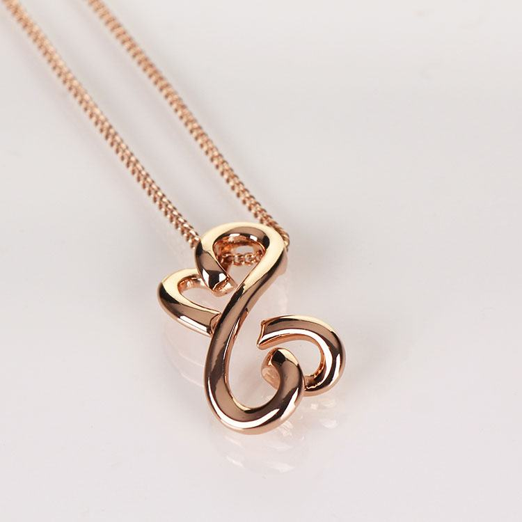Equilibrium Rose Gold Plated Loving Hearts Necklace