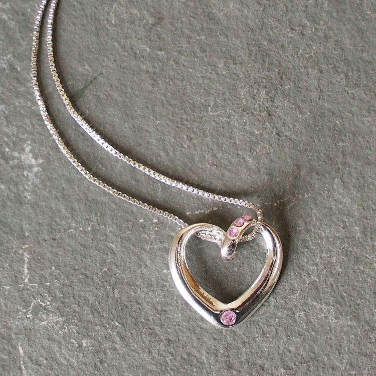 equilibrium pink diamante heart necklace