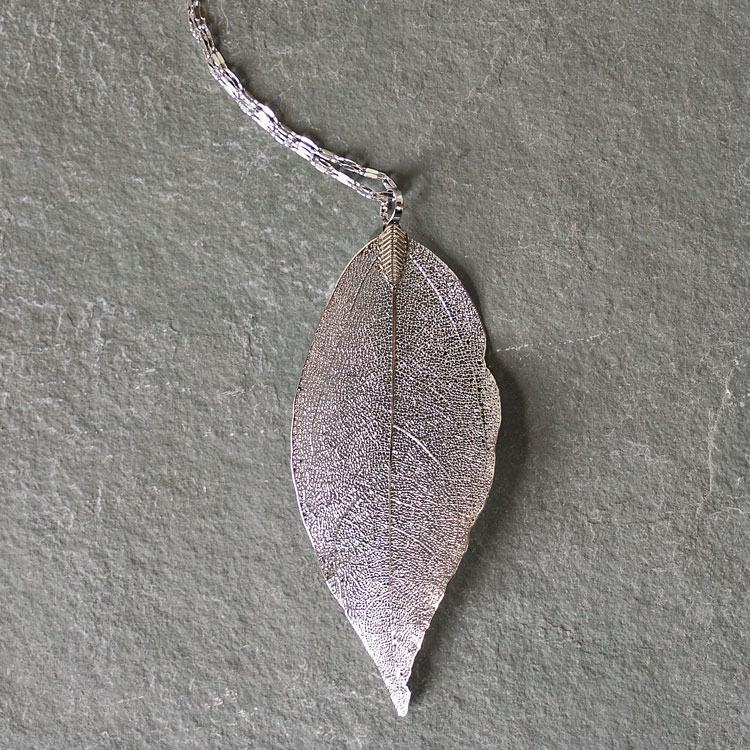 equilibrium platinum plated leaf necklace