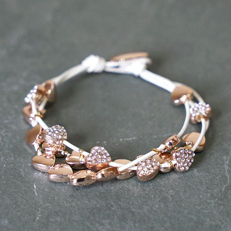 equilibrium rose gold multi hearts leather bracelet