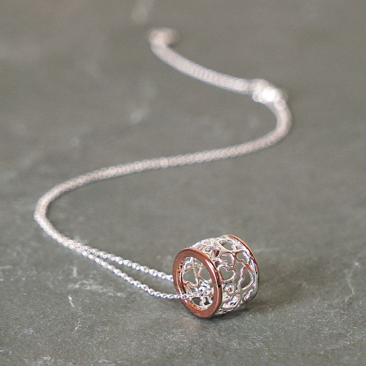 equilibrium rose gold plated filigree ring necklace