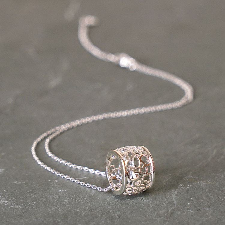 equilibrium silver plated filigree ring necklace