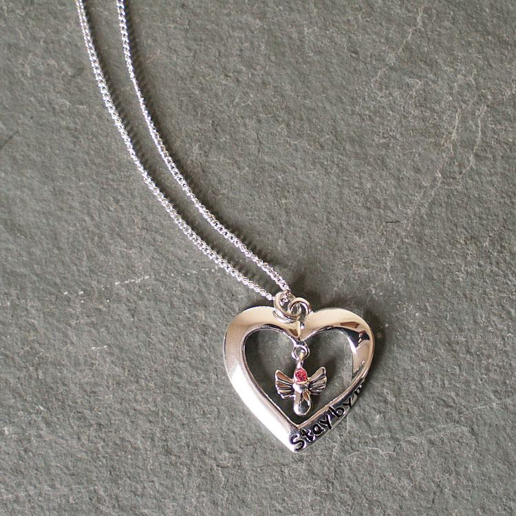 equilibrium silver plated stay by my side guardian angel heart necklace