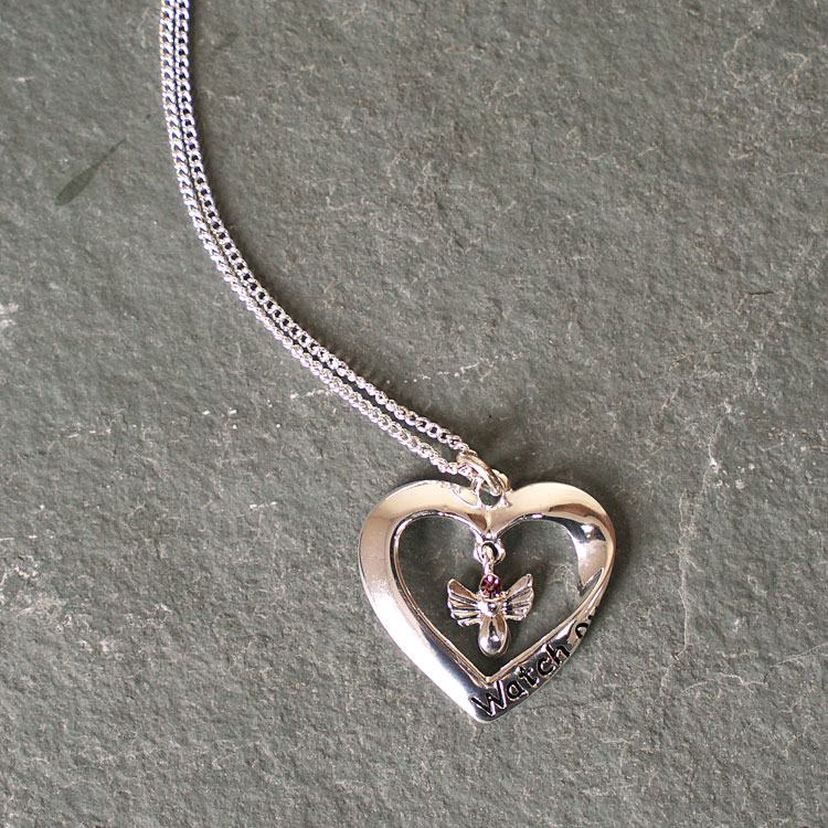Equilibrium Silver Plated Watch Over Me Guardian Angel Heart Necklace