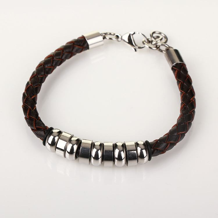Equilibrium Men`s 9 Ring Stainless Steel Brown Leather Bracelet