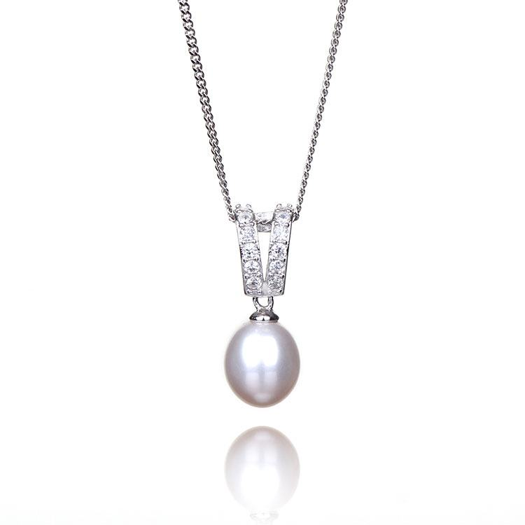 Elements White Fresh Water Pearl Boxed Silver Pendant