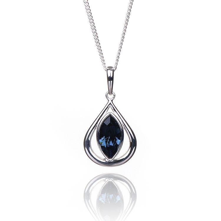 Elements Montana Crystal Teardrop Boxed Silver Pendant