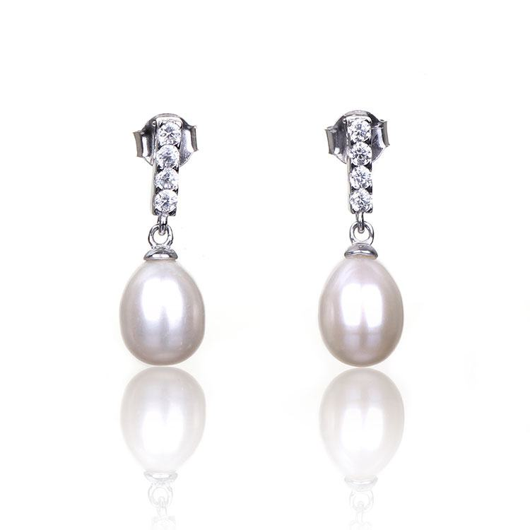 Elements White Fresh Water Pearl Drop Boxed Silver Earrings