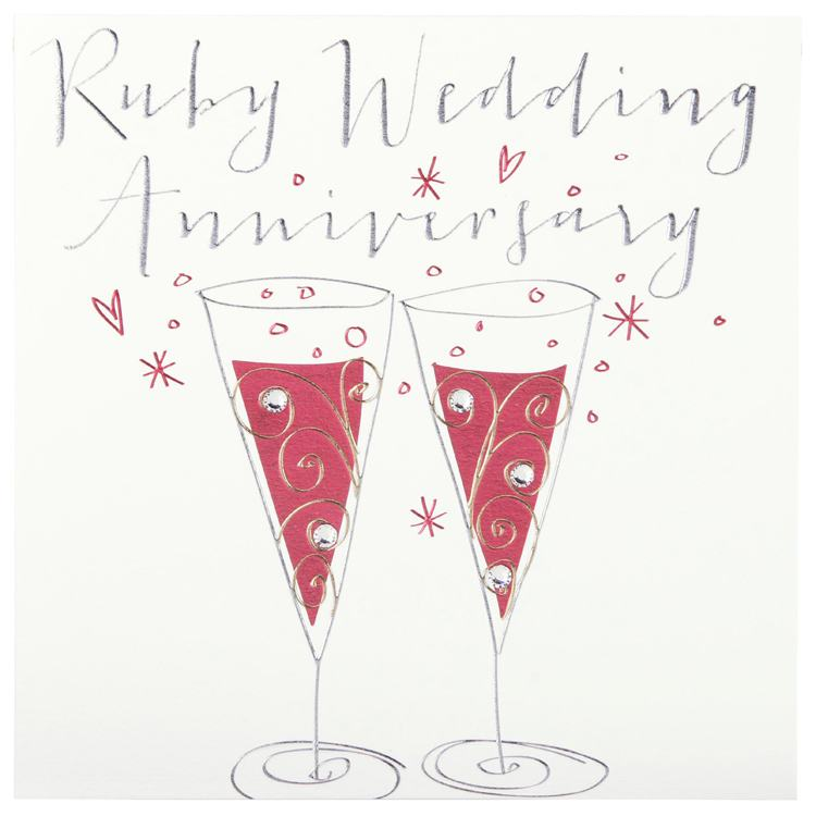 Belly Button Paloma Ruby Anniversary Glasses Card