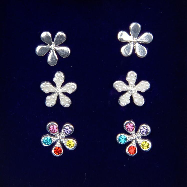 indulgence silver pearl multi crystal earring trio