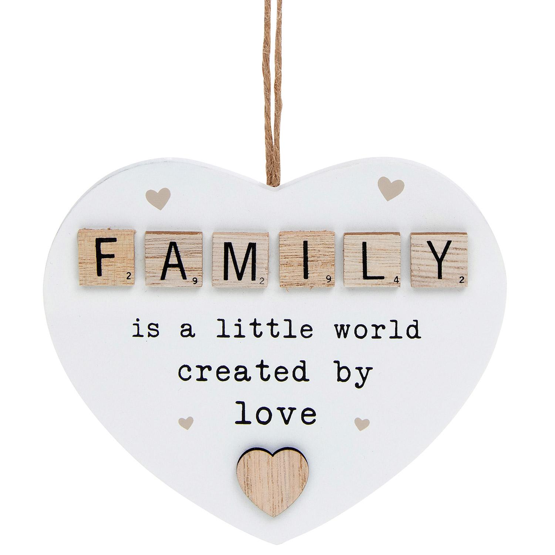 Family Scrabble Sentiment Hanging Heart