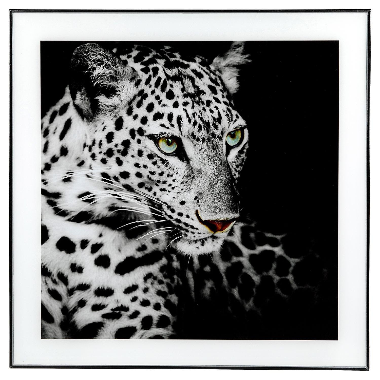 Large Monochrome Leopard Print with Black Frame