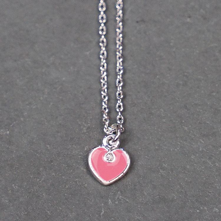 equilibrium girls silver plated pink heart necklace