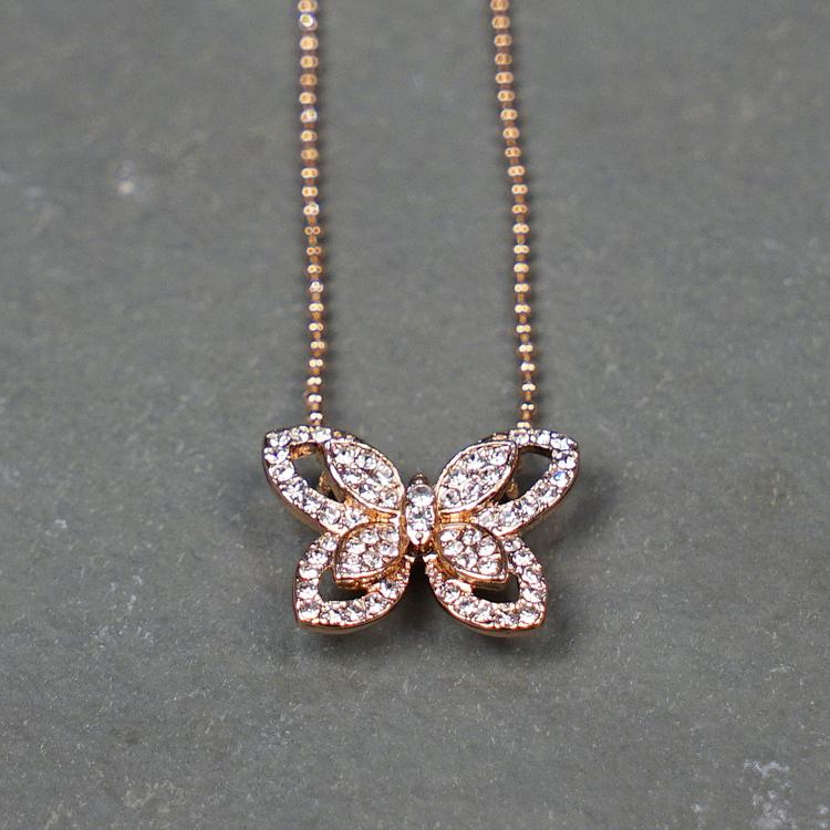 equilibrium rose gold diamante butterfly necklace