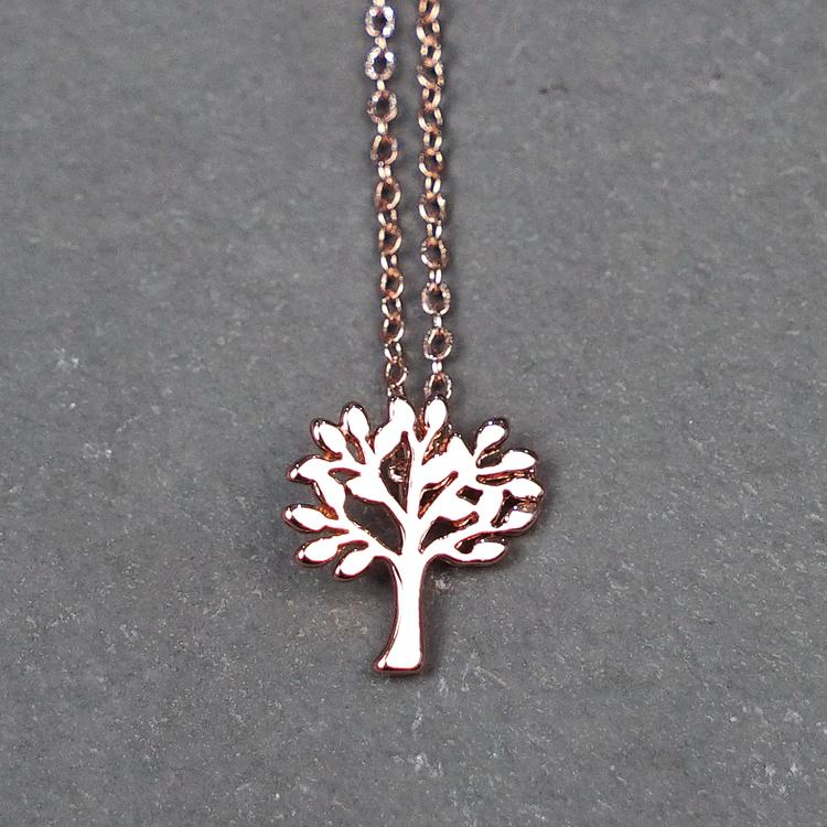equilibrium rose gold tree of life necklace