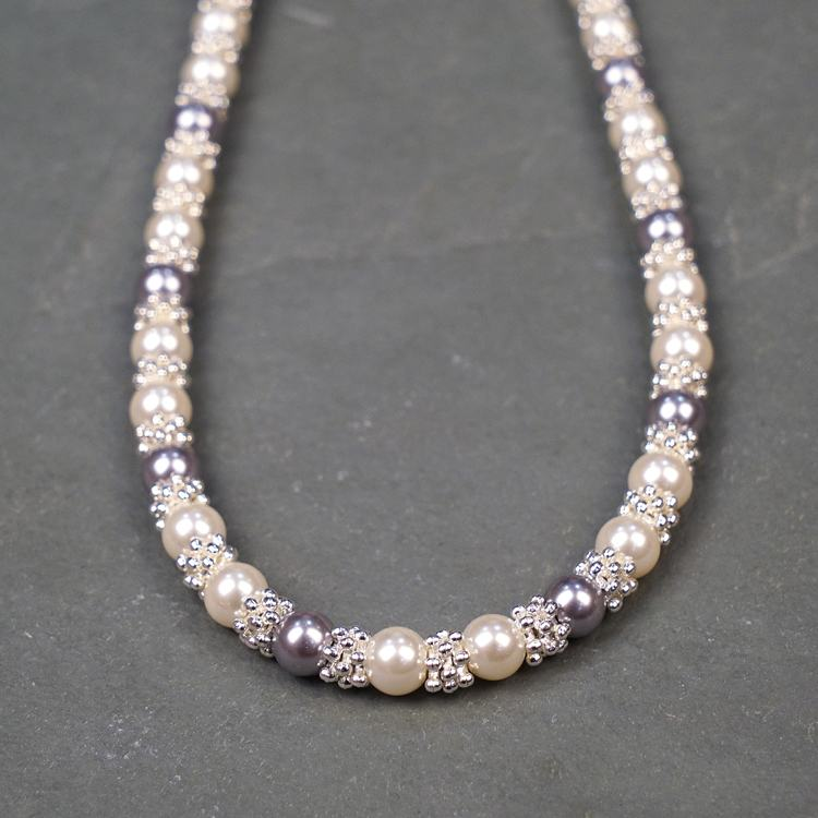 equilibrium silver plated pearl lace necklace