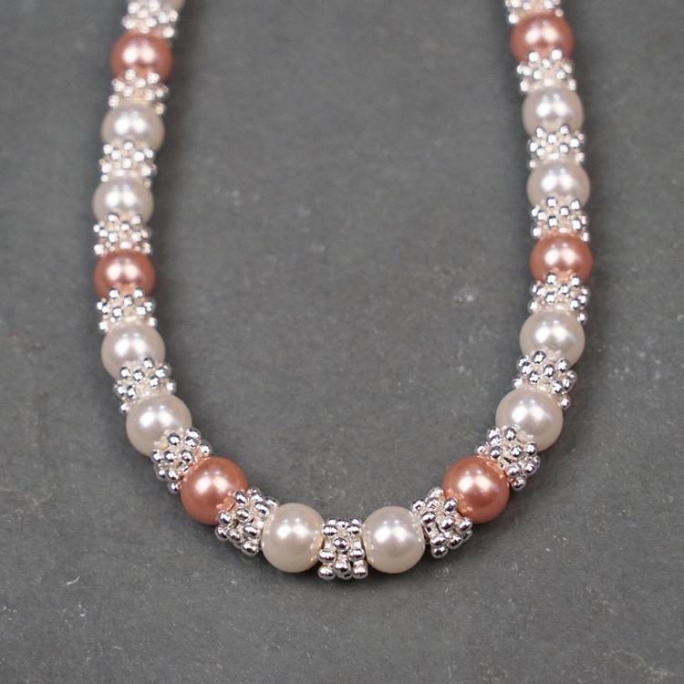 equilibrium silver plated pink pearl lace necklace