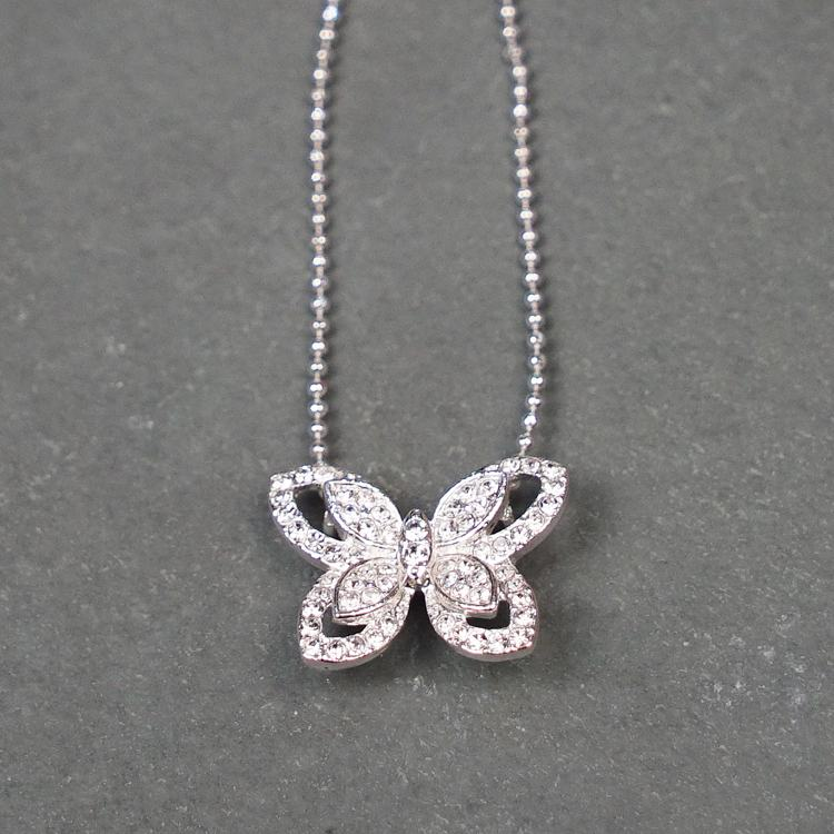 equilibrium silver plated diamante butterfly necklace