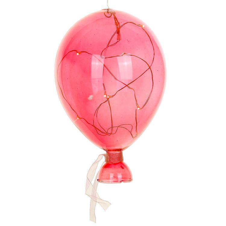 Red Medium LED Hanging Glass Balloon
