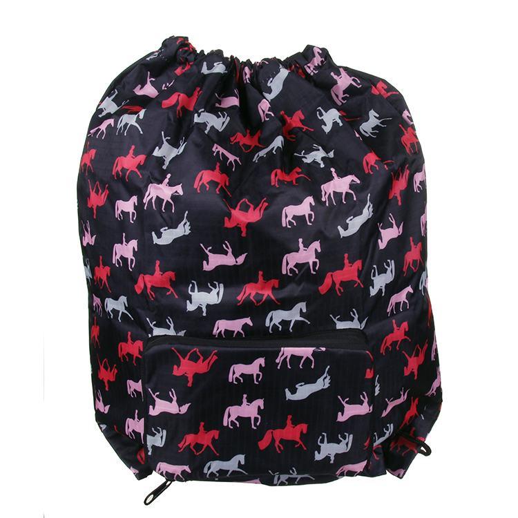 Eco Chic Foldaway Drawstring Bag Black Horses Print