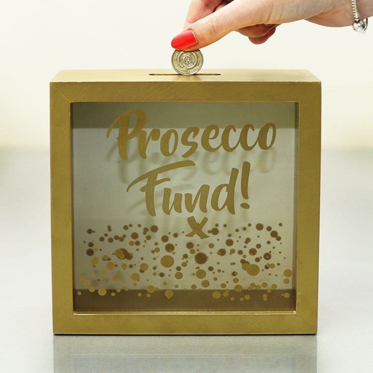 """Gold Edition """"prosecco Fund"""" Money Bank"""