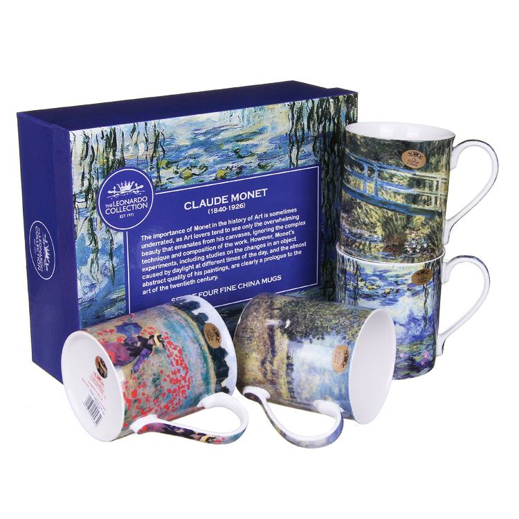 Set of 4 Claude Monet Fine China Boxed Mugs
