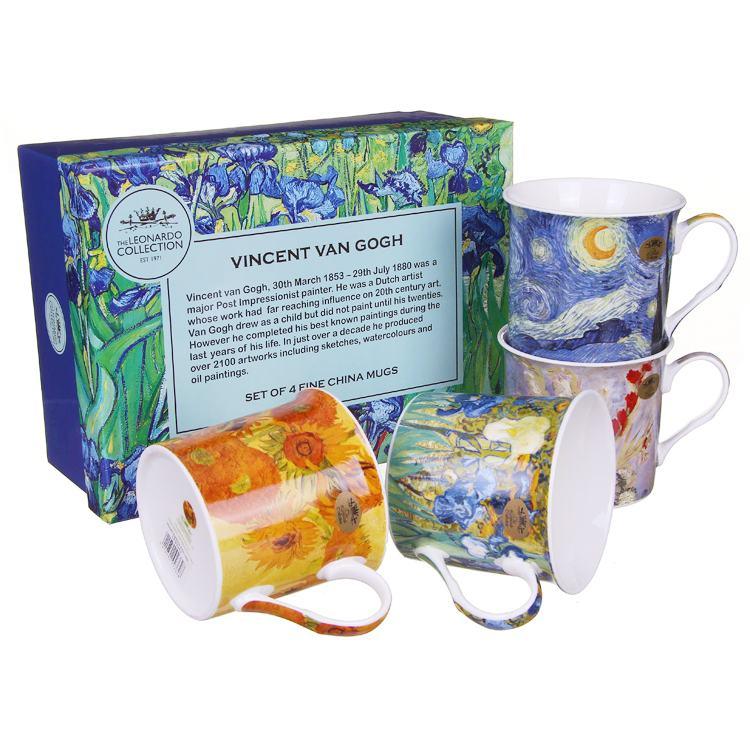 Set of 4 Van Gogh Fine China Boxed Mugs