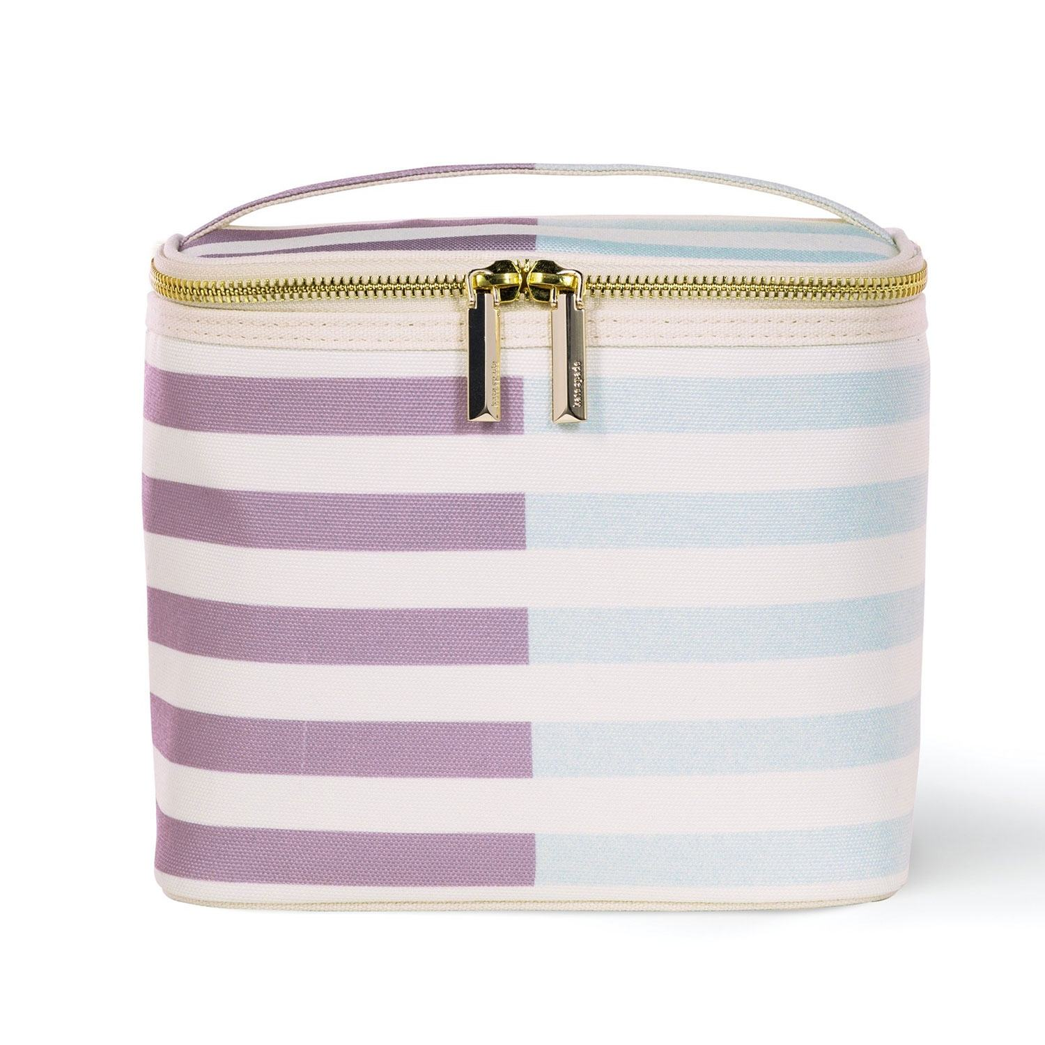 Kate Spade New York Aubergine and Pale Blue Half Stripe Lunch Tote