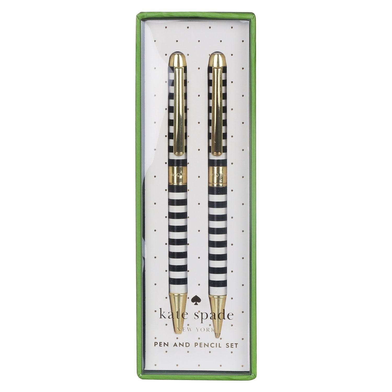 Kate Spade New York Black Stripe Pen and Pencil Set
