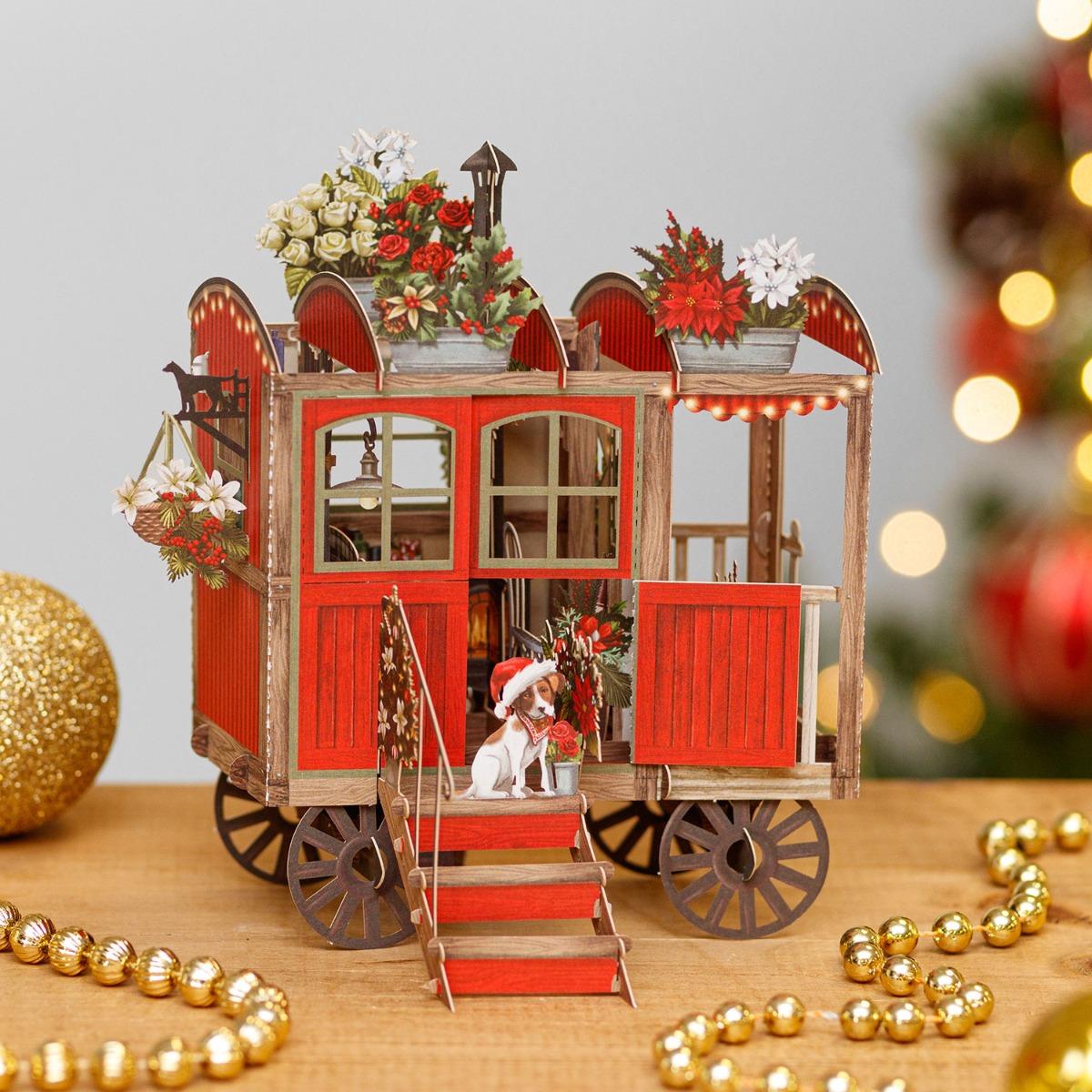 Me & McQ Christmas Hut 3D Christmas Card