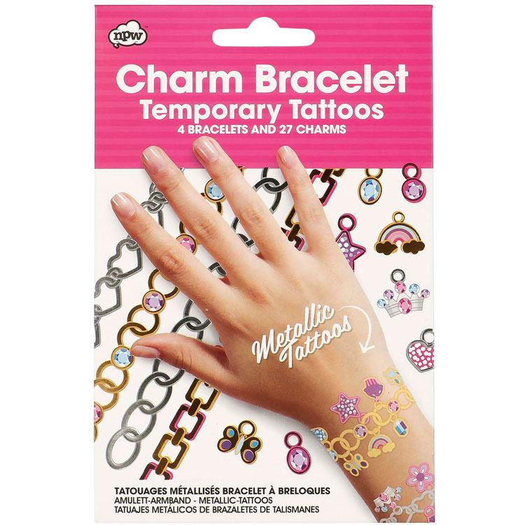 charm bracelet & temporary tattoos