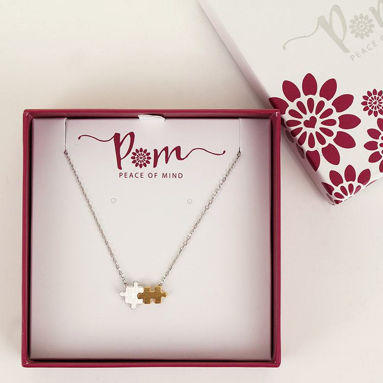 Peace Of Mind Jigsaw Puzzle Gold & Silver Plated Necklace