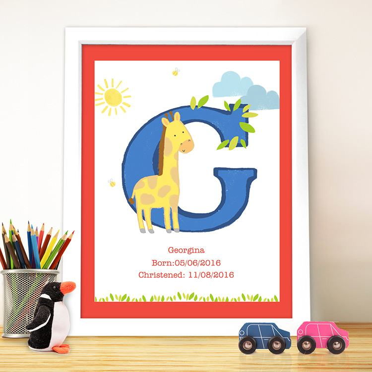Personalised Animal Initial Framed Poster