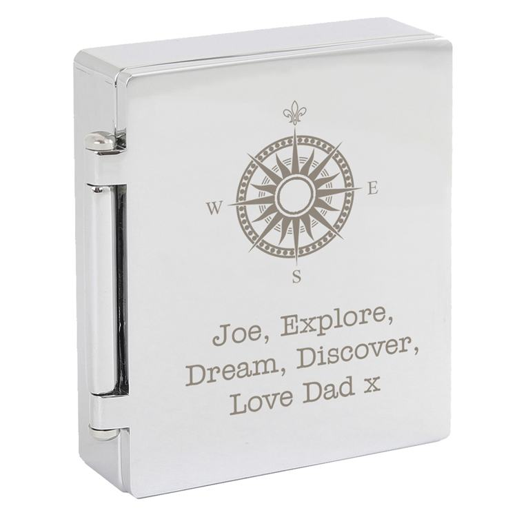 Personalised Compass Photo Frame Travel Clock