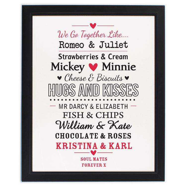 Personalised Couples Black Poster Frame