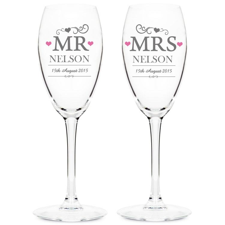 Personalised Pair Of Mr & Mrs Flutes