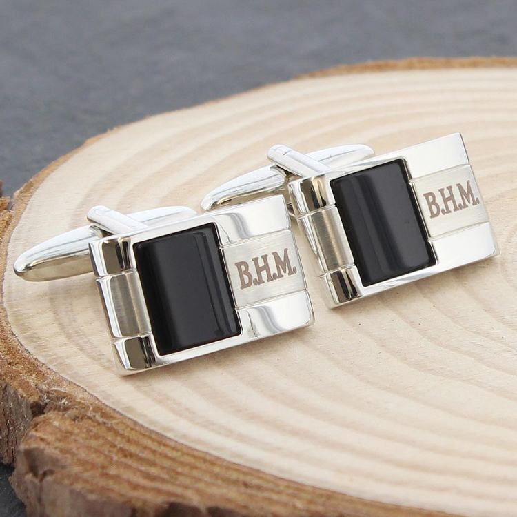 personalised onyx cufflinks