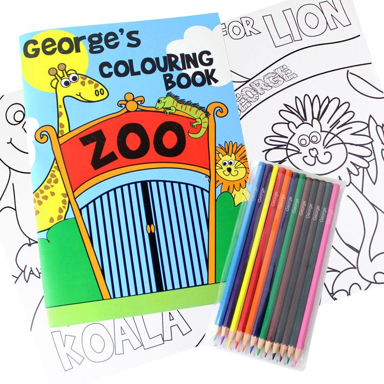Personalised Zoo Colouring Set