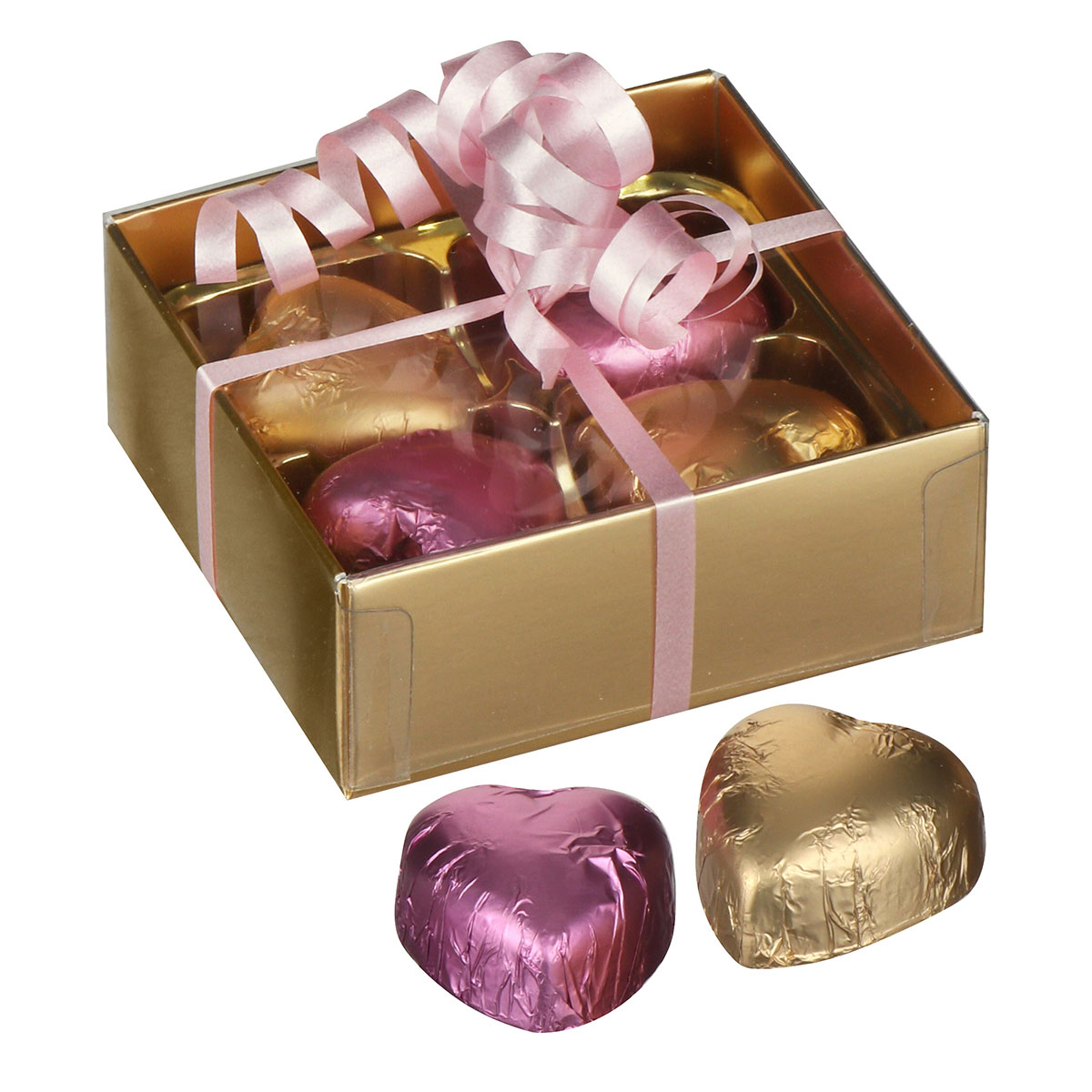 4 Hearts Belgian Chocolates in Gold Presentation Box