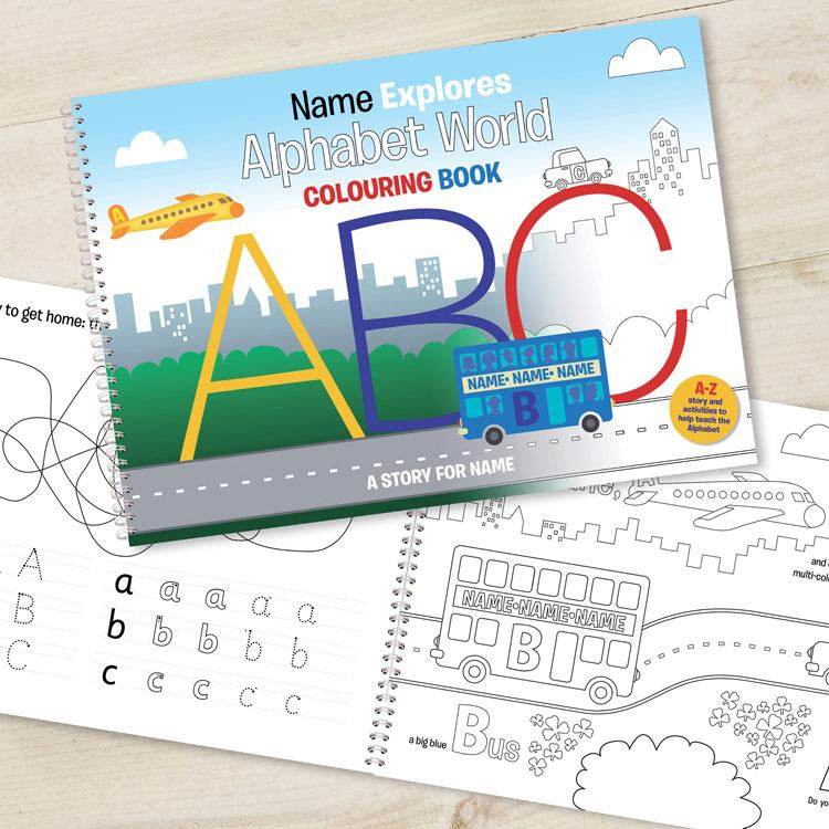 Alphabet World Personalised Childrens Colouring Book