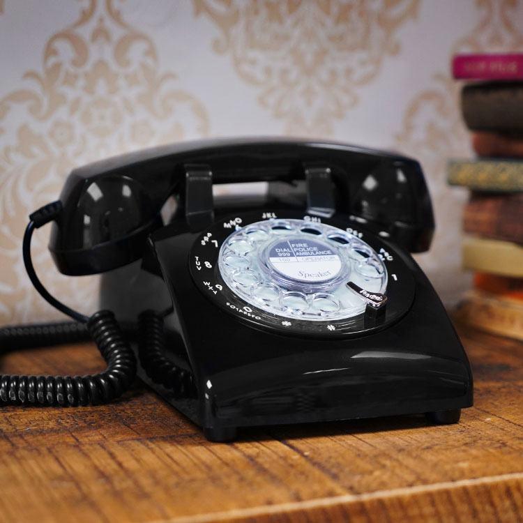 Steepletone 1970's Style Desk Top Telephone in Black