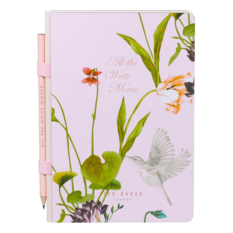 Ted Baker Oriental Bloom A5 Casebound Notebook And Pencil