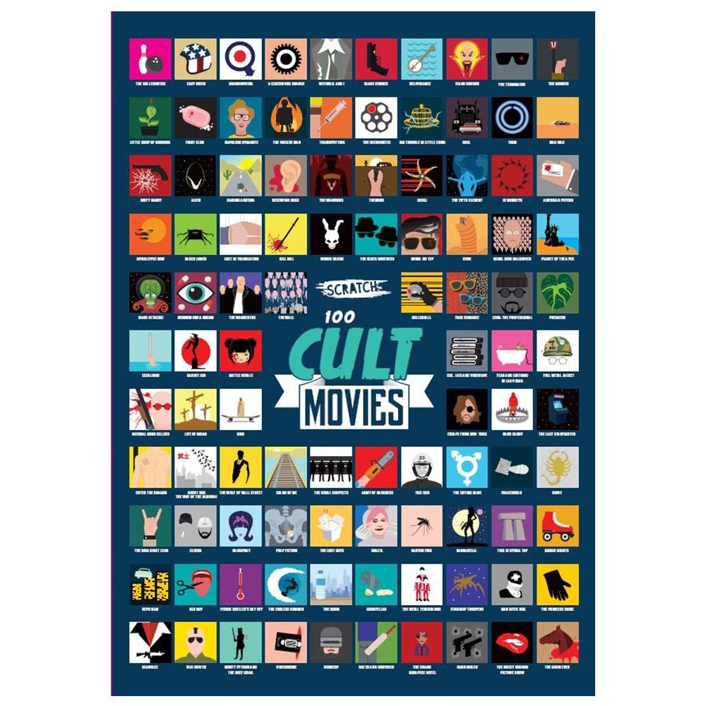 100 Must See Cult Movies A2 Scratch Poster