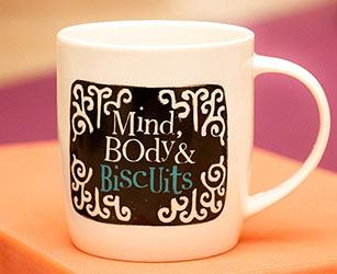 The Bright Side mugs and coasters